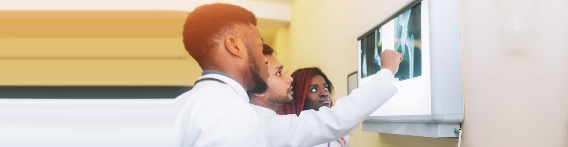 staff looking at the xray